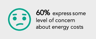 worries emoji with text: 60% of consumers express some level of concerns about energy costs.