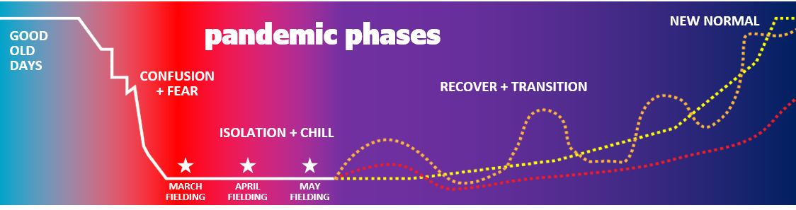 Pandemic phases: good old days, confusion and fear, isolation and chill, recover and transition, new normal.